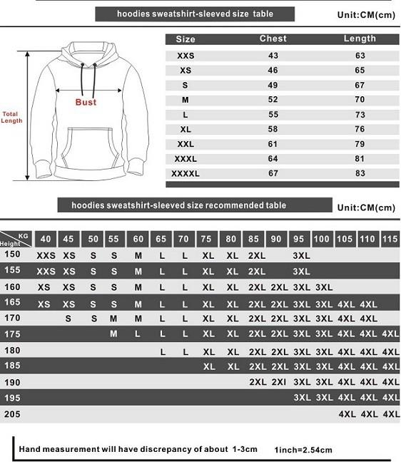 better call saul hoodie size chart